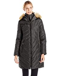 Jones New York Down Coat With Faux Fur-trimmed Hood - Black