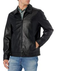 Tommy Hilfiger Classic Faux Leather Laydown Collar Jacket - Black