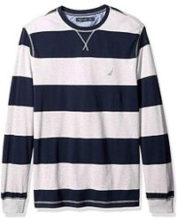 Nautica Big And Tall Long Sleeve Rugby Stripe Crewneck Polo Shirt - Gray