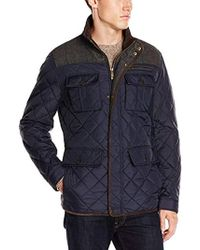 Vince Camuto Quilted Jacket With Plaid Yoke - Blue