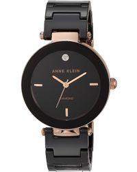 Anne Klein Ak/1018rgbk Diamond Dial Rose Gold-tone Black Ceramic Bracelet Watch - Metallic