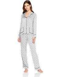 Splendid S Notch Collar Long Sleeve Pajama Set - White