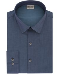 Kenneth Cole Reaction Dress Shirt Slim Fit Stretch Collar Solid - Blue