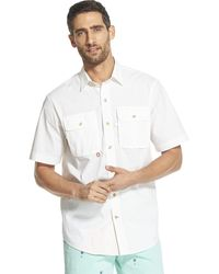 Izod Surfcaster Short Sleeve Button Down Solid Fishing Shirt - White