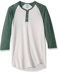 Alternative Apparel Raglan 3/4 Sleeve Henley Shirt - Multicolor