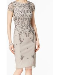 Adrianna Papell Short Sleeved Beaded Cocktail Dress - Multicolor