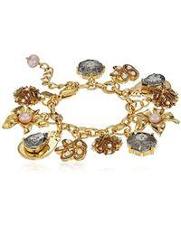 Badgley Mischka Floral Charm Bracelet - Metallic