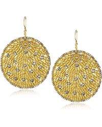 Miguel Ases Pyrite Quartz And Swarovski Gold Beaded Round Earrings - Metallic