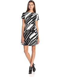Vince Camuto - Cap Sleeve Graphic Wave Flare Dress - Lyst