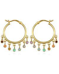 Satya Jewelry - Multi Stone Gold Chakra Hoop Earrings, Multi, One Size - Lyst