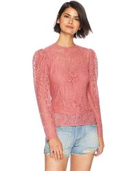 Keepsake All Night Crew Neck Long Sleeve Lace Top - Pink
