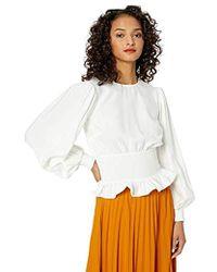 Keepsake Secure Long Sleeve Smocked Peplum Blouse Top - White