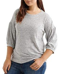 Lucky Brand - Plus Size Stripe Hacci Volume Sleeve Top - Lyst