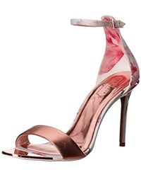 50847b096 Lyst - Ted Baker Charv Painted Posie Barely There Heeled Sandals in Pink