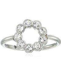 Fossil - S Ring With Circle Of Clear Crystal Glitz - Lyst