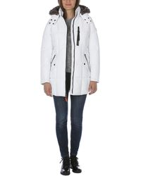 Nautica Heavy Weight Quilted Jacket With Faux Fur Trim - White
