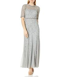 Adrianna Papell - Fully Gown With Beaded Waistband And Elbow Sleeves - Lyst