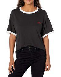 RVCA Mens Scrypt Ringer T-shirt T Shirt - Black