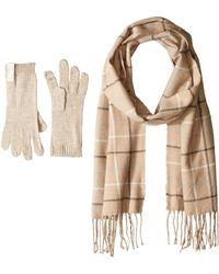 Calvin Klein Plaid Woven Scarf And Glove Set - Natural