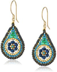 Miguel Ases Small Floral Swarovski Contrasted Teal Tear Drop Earrings - Blue
