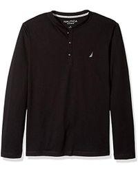 Nautica Long Sleeve Henley Pajama Top - Black