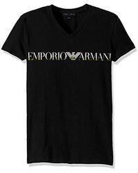 Emporio Armani Megalogo V-neck T-shirt - Black