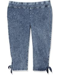 Marc New York Plus Size Knit Denim Legging With Chunky Ties On The Side Of Both Legs - Blue