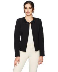 Kasper Stretch Crepe Flyaway Jacket With Embellished Collar - Black