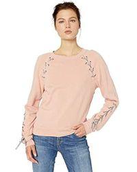 Jessica Simpson Kiana Lace Up Sweatshirt - Pink