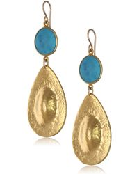 Devon Leigh Turquoise And Yellow Gold-plated Teardrop Earrings - Blue