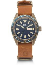 Frye Campus Stainless Steel Japanese Quartz Leather Strap - Brown