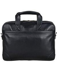 "Ben Sherman - Leather Double Compartment Top Zip 15.0"" Computer Case Business Portfolio Laptop Briefcase - Lyst"