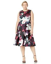 Calvin Klein - Plus Size Sleeveless Princess Seamed A-line Midi Dress - Lyst