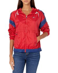 Tommy Hilfiger , Missy Long Sleeve Zip Up Windbreaker, Scarlet, Extra Large - Blue