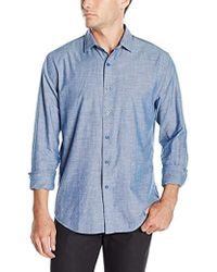 DL1961 - 73rd And Park Regular Fit Button Down Shirt, Blue Chambray - Lyst