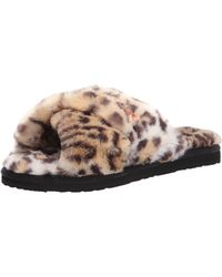 Volcom Womens Lived In Lounge Faux Fur Slide Sandal - Black