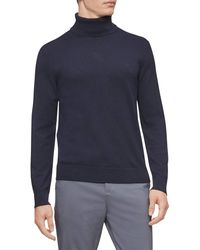 Calvin Klein The Extra Fine Merino Turtleneck Sweater - Blue