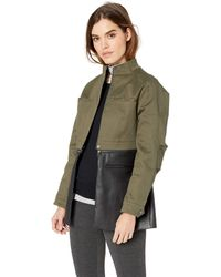 BCBGMAXAZRIA Faux Leather-trimmed Peplum Jacket - Green