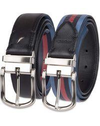 Nautica Mens Leather Reversible Belt - Black