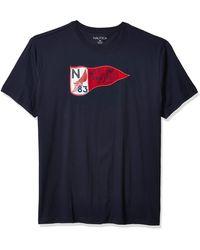 Nautica Big & Tall Short Sleeve Crew-neck Graphic Tee - Blue