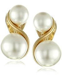 Anne Klein Gold-tone & Faux Pearl Clip-on Earrings - Metallic
