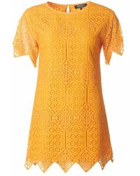 Juicy Couture Black Label Ara Lace Shortsleeve Dress - Yellow