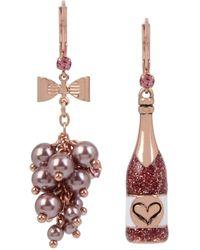 Betsey Johnson Rose Mismatch Drop Earrings - Pink