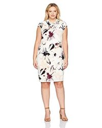 Calvin Klein - Plus Size Print High Neck Dress With Arc Hardware - Lyst