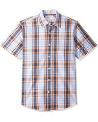 Amazon Essentials Regular-Fit Short-Sleeve Plaid Shirt Button-Down-Shirts - Blu