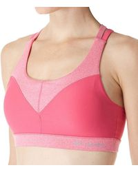 Columbia Heather Block Bra With Supportive Straps And Removeable Cups Bra - Pink