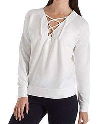 Stateside Viscose Fleece Lace Up - White