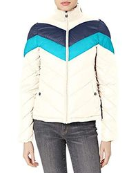 Marc New York Colorblock Chevron Jacket With Sweater Collar - White