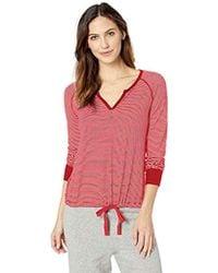 Three Dots Ht2776 Feeder Stripe Pajama Top - Red