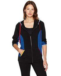 Anne Klein Colorblock Athleisure Zip-up - Black